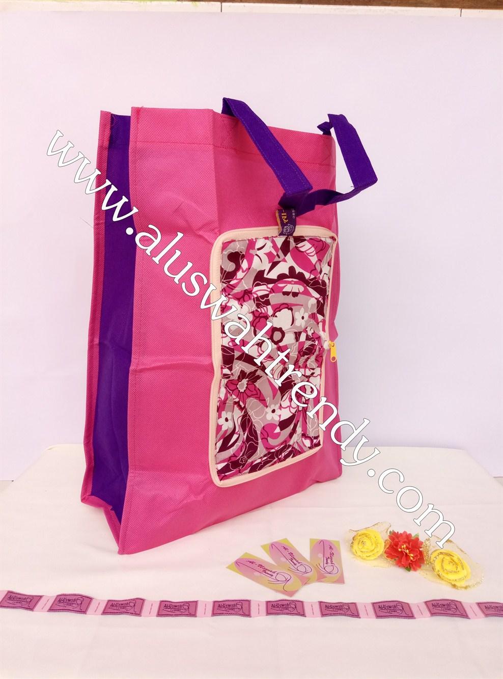 Tas Belanja Lipat Pink Motif Bunga-Bunga 011