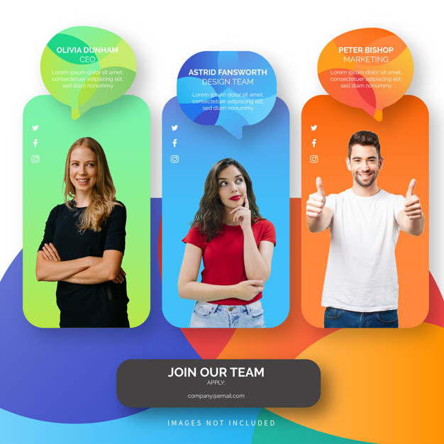 Join our team template with colorful shapes Free Vector