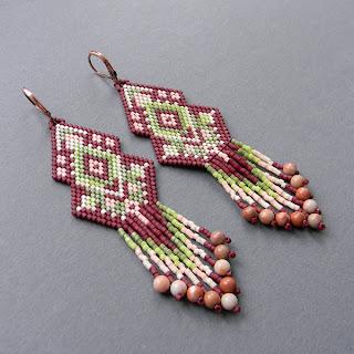 купить серьги из бисера длинные сережки в этническом стиле с бахромой