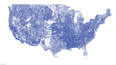 Map of streams of US
