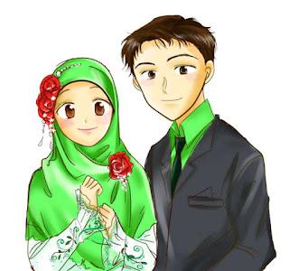 kartun sepasang remaja muslim dan muslimah