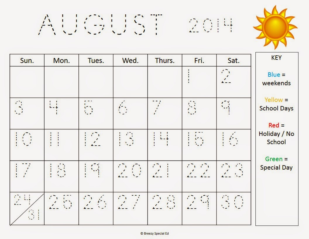 Monthly Calendar Worksheets August Freebies