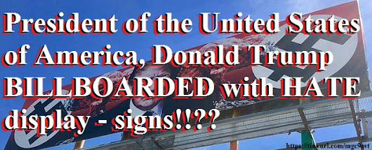 "American President, Donald Trump, outraged Phoenix billboard: ""Hand signing unity and dollar German sign?"" -"