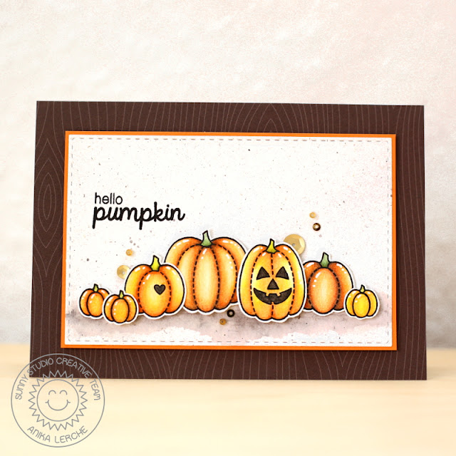 Sunny Studio Stamps: Harvest Happiness, Halloween Cuties & Woodsy Creatures Hello Pumpkin card
