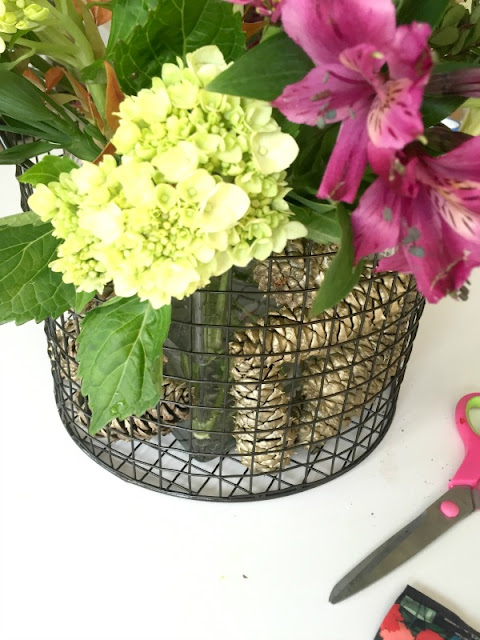 DIY Pine Cone and Flower Arrangment for Fall