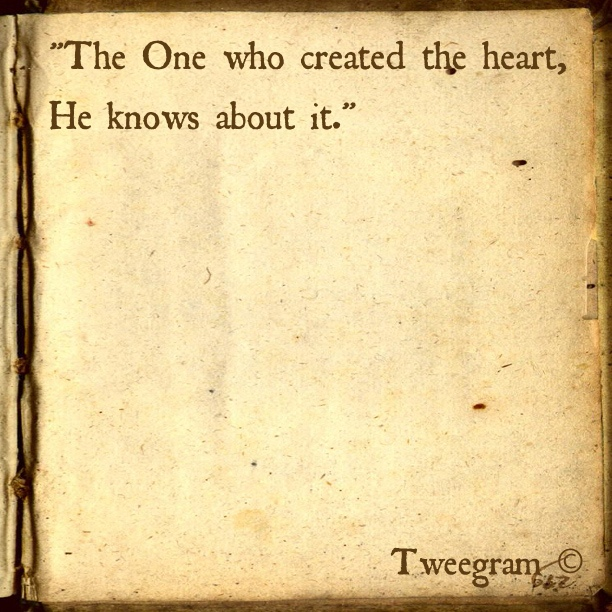 Allah Quotes - The one who created the heart, He knows about it.