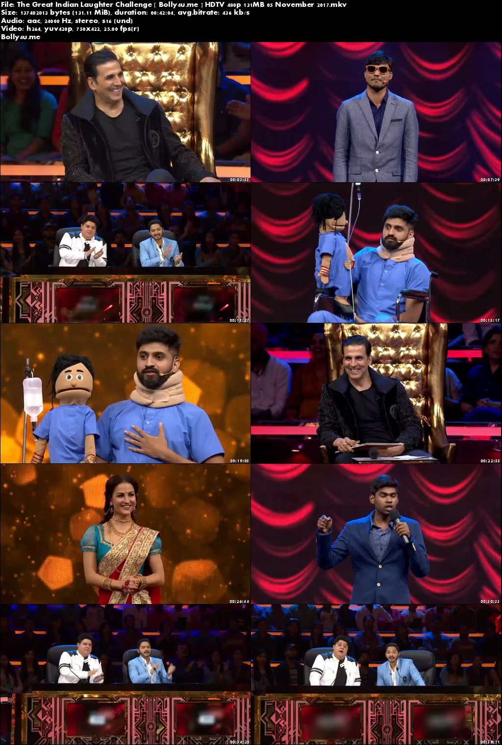 The Great Indian Laughter Challenge HDTV 480p 130MB 05 November 2017 Download