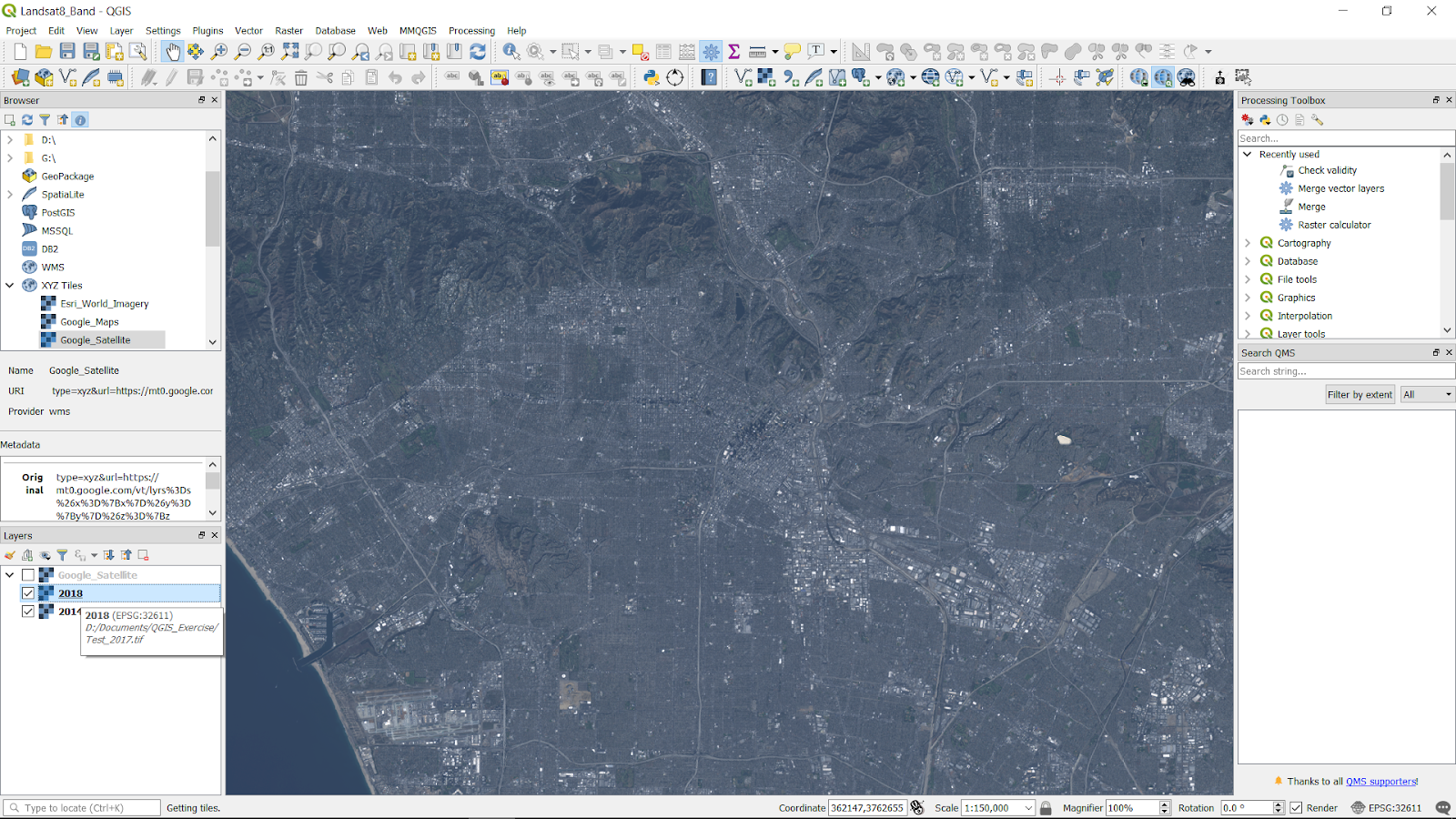 Landsat 8 Band Combinations on QGIS – Information 4 All