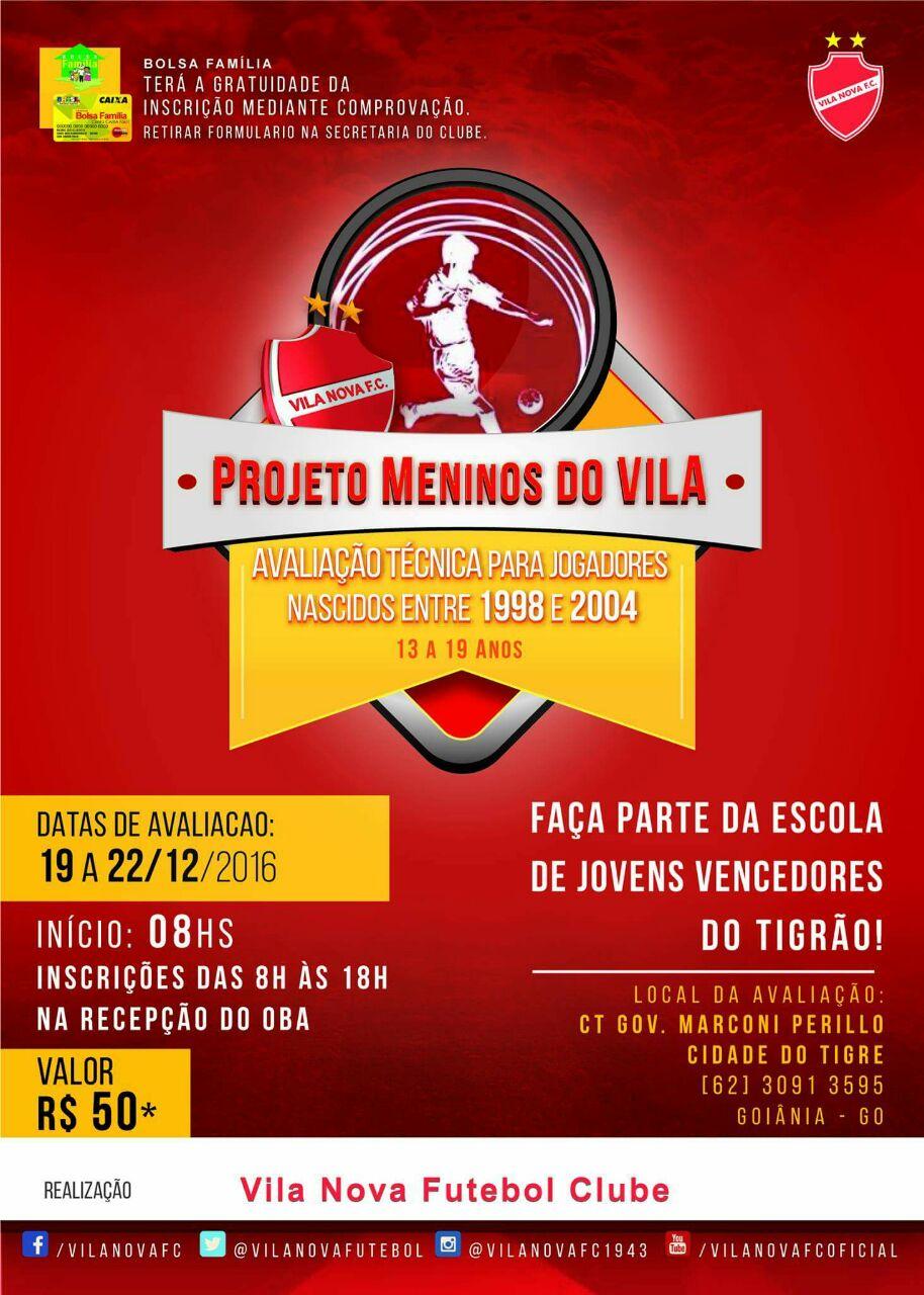 Vila Nova promove avaliação de atletas nascido entre 1998 a 2004 para suas  Categorias de Base f1989a6fbe404