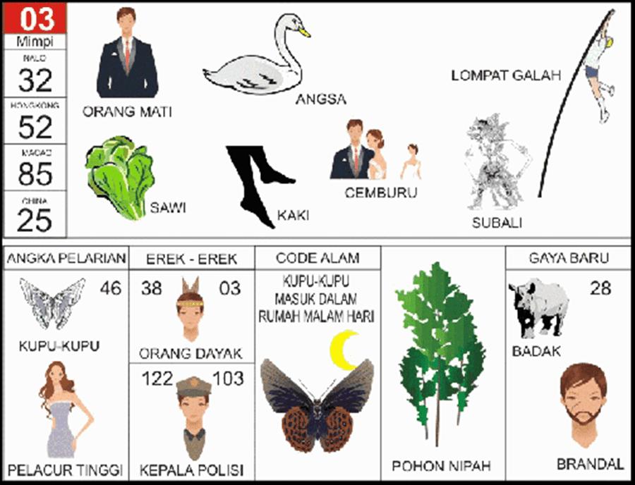 Buku Mimpi 2D Bergambar Angka Main 03 Plus Erek Erek dan Kode Alam