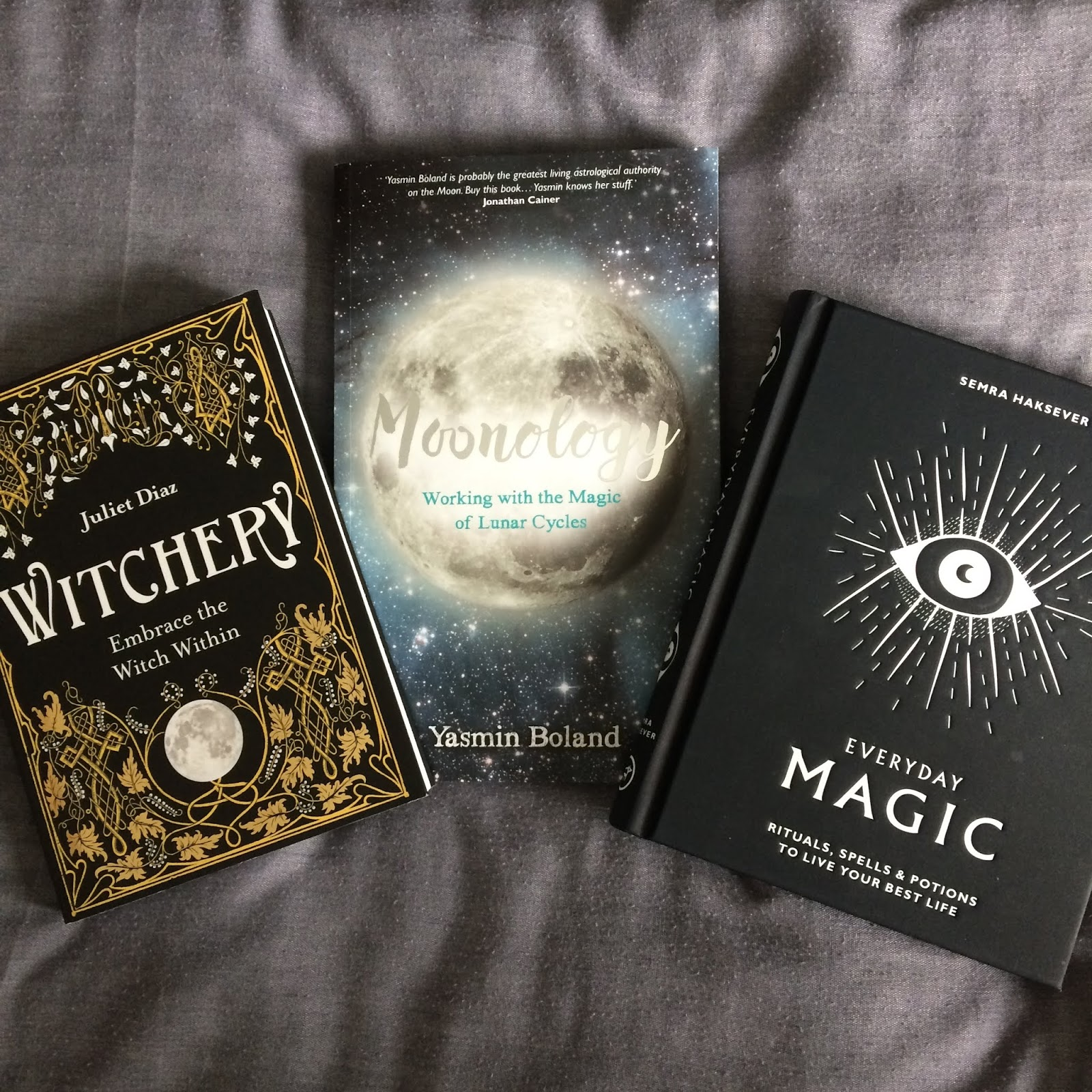 Witchery by Juliet Diaz, Moonology by Yasmin Boland, and Everyday Magic by Semra Haksever