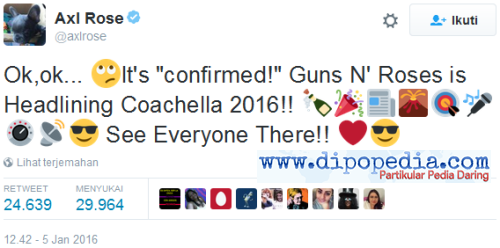 Screenshot Tweet Axl Rose Reuni Guns N' Roses Di Coachella Festival - Dipopedia