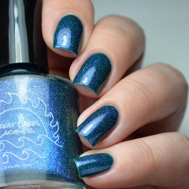 blue nail polish with shifting shimmer