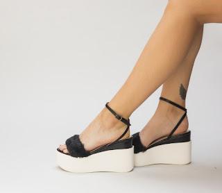 Sandale cu platforma negre cu puf moderne 2017