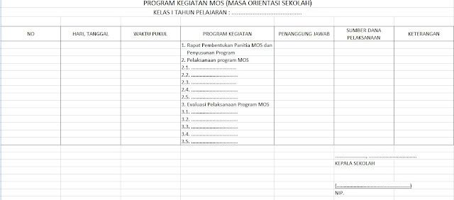 Format Buku Program Kegiatan MOS (Masa Orientasi Sekolah)