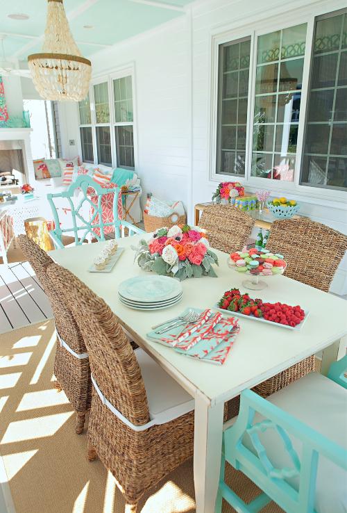 Coastal Summer Porch Dining Area