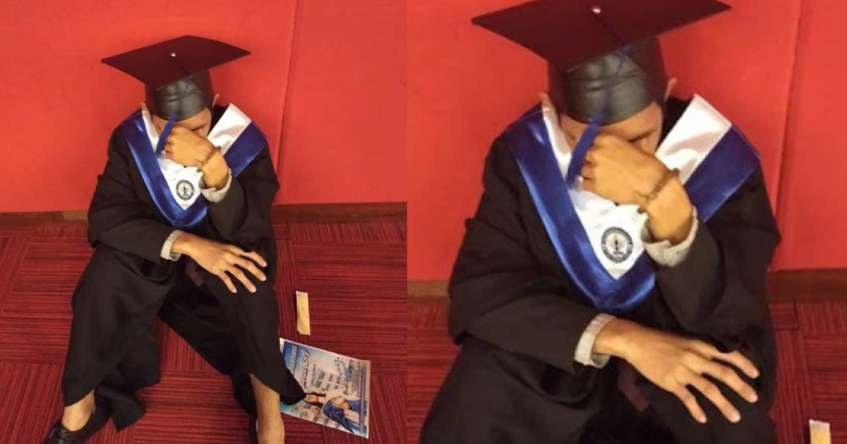 Student Cries at Graduation Day, Because His Family is Absent Again