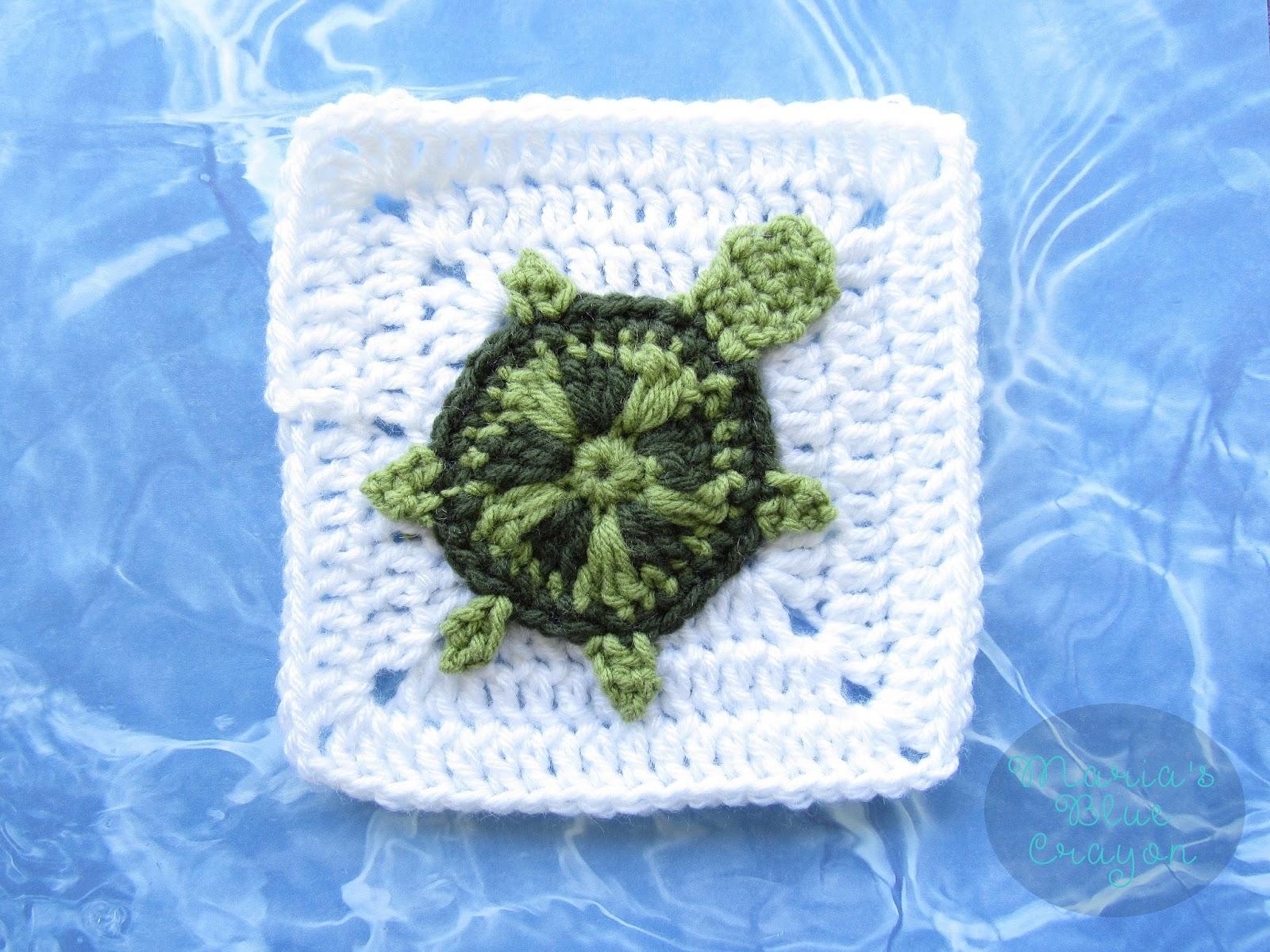 Crochet Sea Turtle Applique And Granny Square Free Crochet Pattern
