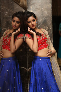 Anu Emmanuel in Red Choli and Blue Ghagra Spicy Pics