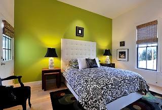 Diseño de dormitorio verde gris
