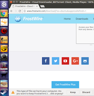 frostwire download page - click Keep to download .deb file