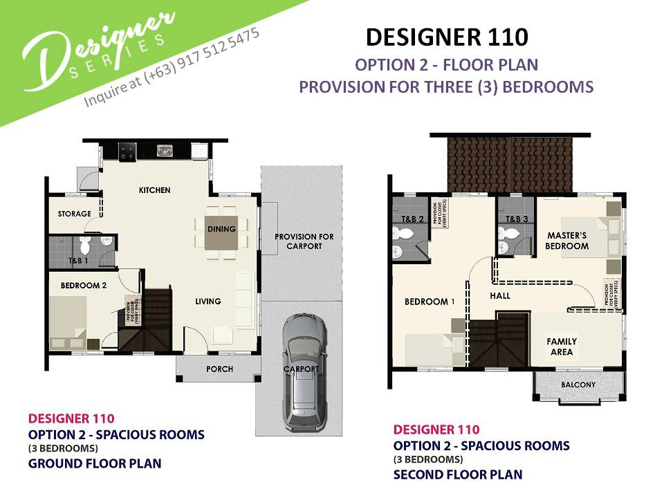 Option 2 - Floor Plan of Citta Italia - Designer 110 With Balcony | House and Lot for Sale Molino Bacoor Cavite