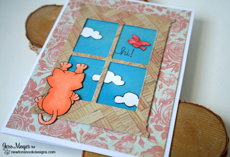 Create a Window Scene on a Card by Jess Moyer with Newton's Nook Naughty Newton