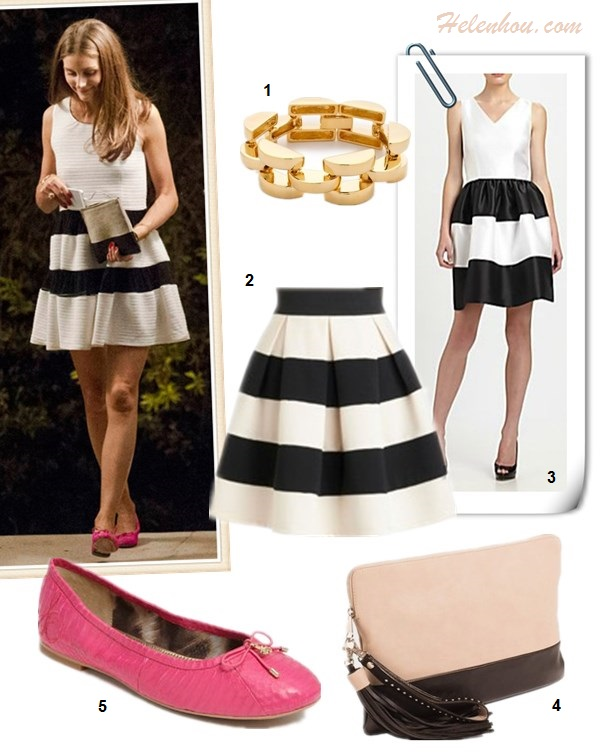 What to Wear on a beach vacation; how to wear print dress or skirt, how to wear black and white, beach outfit ideas 2013; spring/summer, street style;   On Olivia Plermo: black and white stripe dress, pink ballet flat, celine colorblock clutch, gold bracelet.    Featured:   Bop Bijoux smooth link gold bracelet, ModCloth stripe skirt, Lotusgrace Striped Taffeta Dress , The Limited Colorblock Oversized Clutch, Sam Edelman 'Felicia'ballet Flat