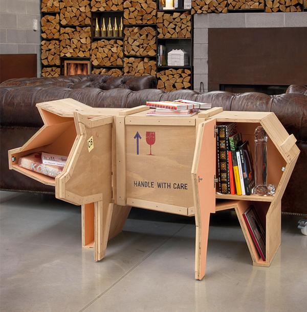 Interesantes muebles de madera con formas de animales