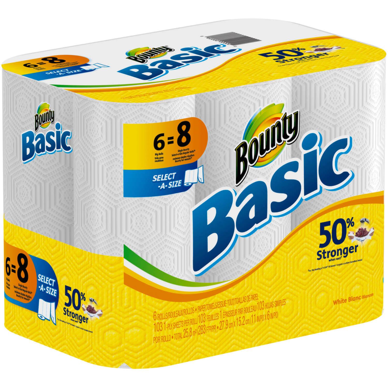 walmart deals bounty basic paper towels per pack save 2 spend less shop more. Black Bedroom Furniture Sets. Home Design Ideas