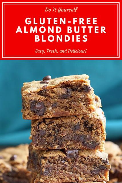 Gluten-free Almond Butter Blondies   #Gluten-freeReceipes  #AlmondButterReceipes  #ButterBlondiesReceipes