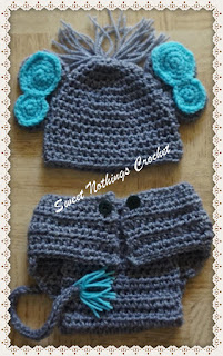 free crochet diaper set, free crochet hat pattern