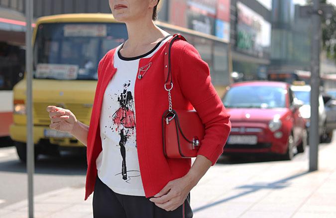 czerwony sweter rozpinany Makalu
