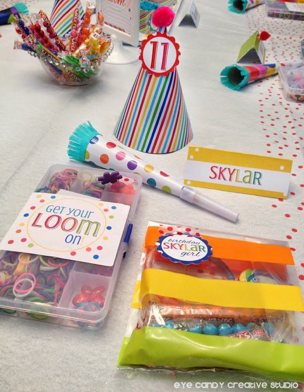 party favors idea for rainbow loom party, mini loom kits, online labels