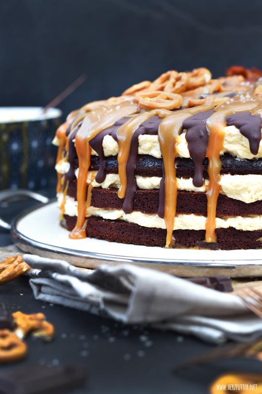 Zuckersüßer Salted Caramel Cake als Dripping Cake