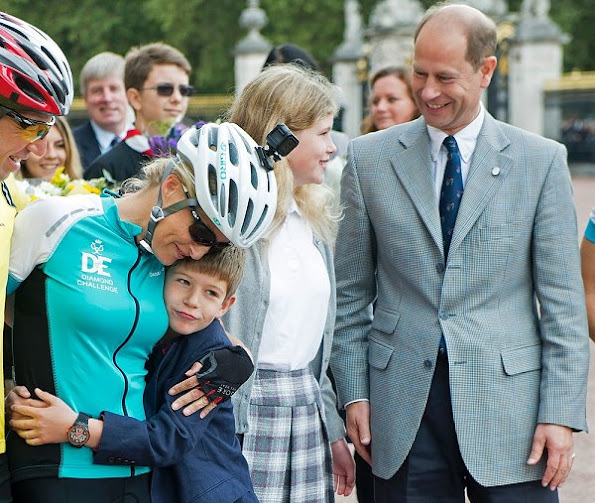 Prince Edward, Sophie, Countess of Wessex and her children Lady Louise Windsor and James Viscount Severn