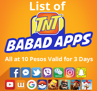 List of TNT Babad Apps Promo : All at 10 Pesos Valid for 3 Days