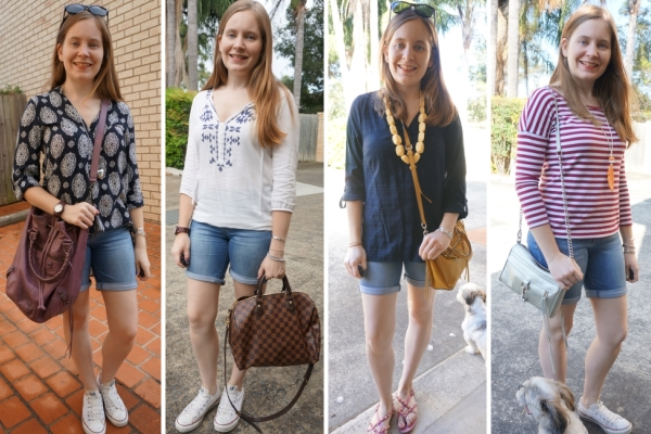 Wearing bermuda denim shorts in autumn spring with long sleeve tops | away from the blue