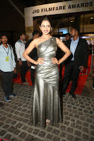 Rakul Preet Singh in Shining Glittering Golden Half Shoulder Gown at 64th Jio Filmfare Awards South ~  Exclusive 054.JPG