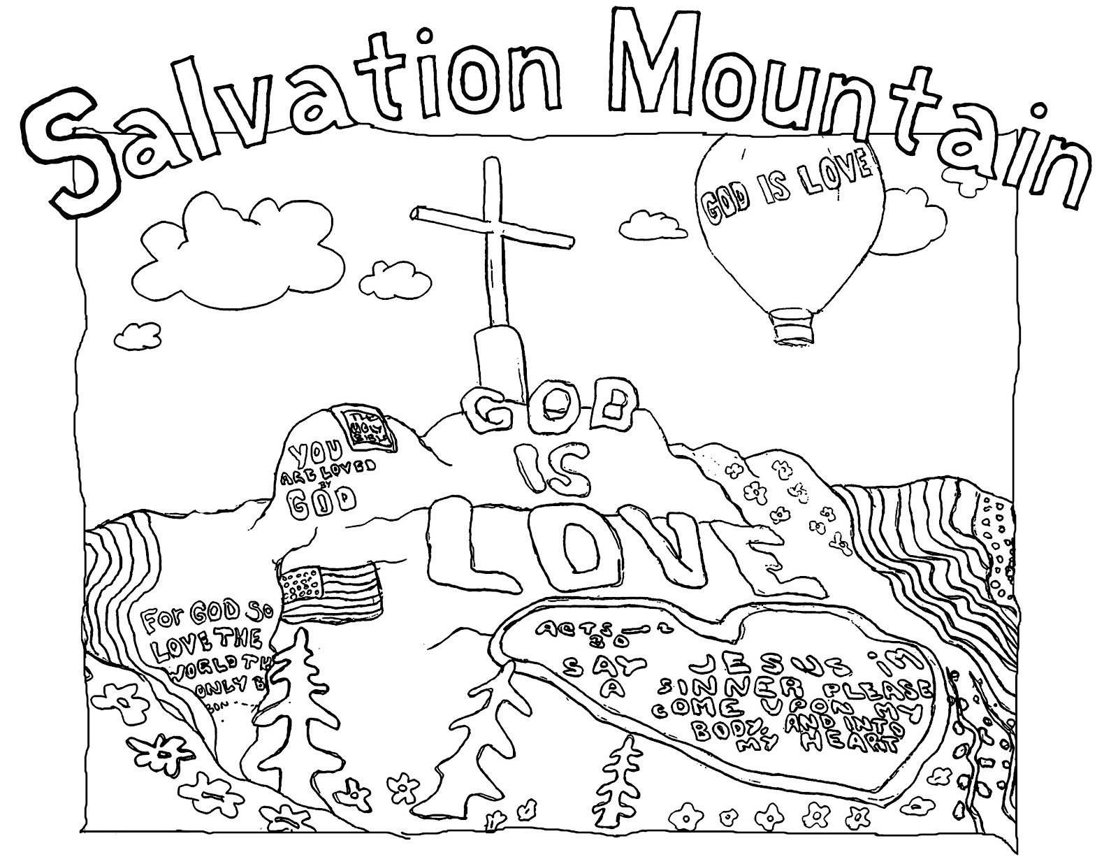 Paint and Pixels: A Salvation Mountain Coloring Page!
