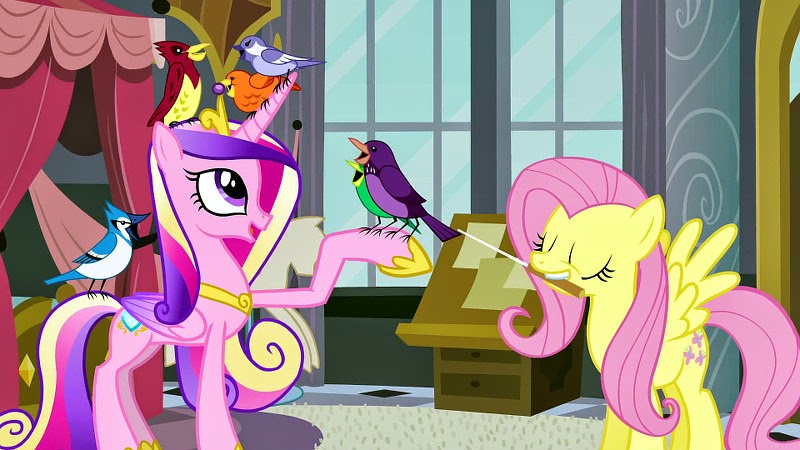Cadance and Fluttershy with the songbird choir
