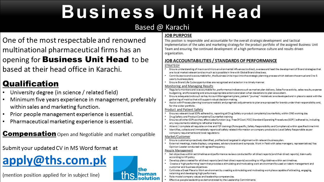 latest jobs and vacancies business unit head head of department hod jobs available in pharmaceutical firm in karachi
