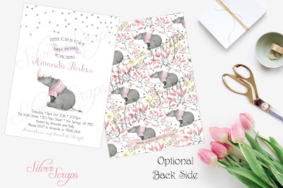 Silver Glitter Confetti and watercolor Rhinoceros Custom Baby Girl Shower Sprinkle Invitation - Grey Rhino Pink Peach Lavender White Matching Back Side girl zoo jungle safari animal sweater purple grey gray fuscia modern polka dots sprinkles sweet kids rhino floral flowers flower buds yellow gold