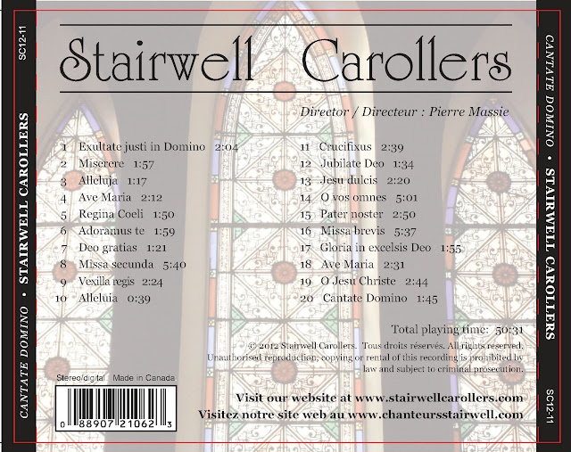 Cantate Domino CD back Cover  with song list