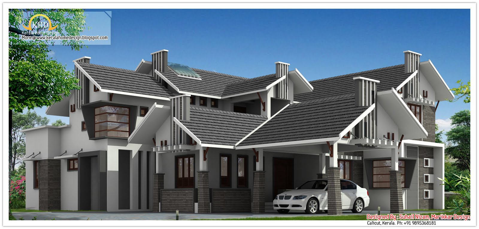 Unique sloping roof luxury home kerala home design and for Unique luxury house plans