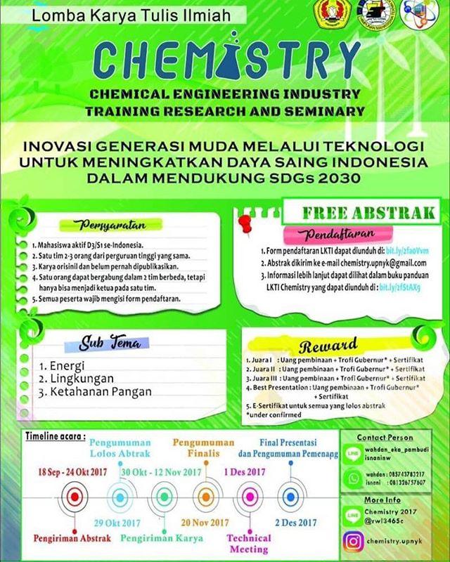 Lomba Karya Tulis Ilmiah Nasional Chemistry 2017 | UPN Veteran Yogyakarta | Mahasiswa