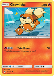 Growlithe Sun and Moon Pokemon Card