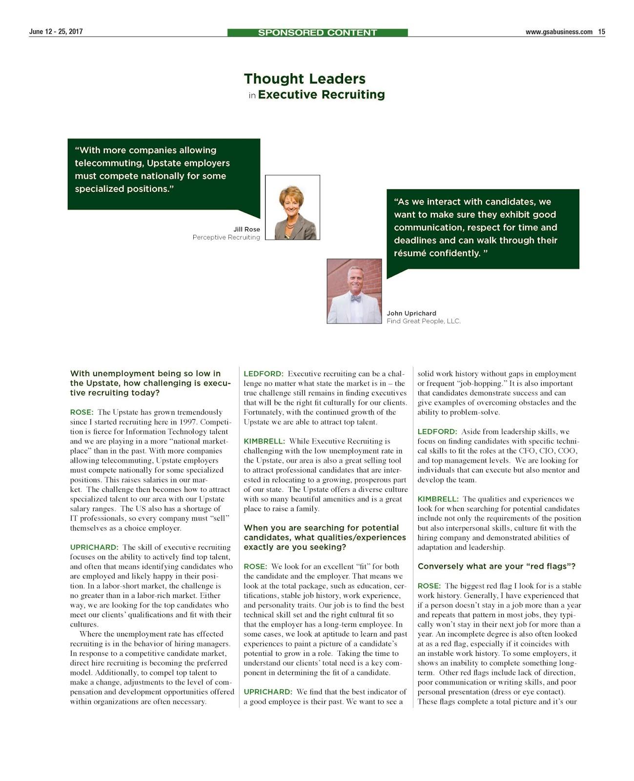 Perceptive Recruiting Featured In GSA Business Report