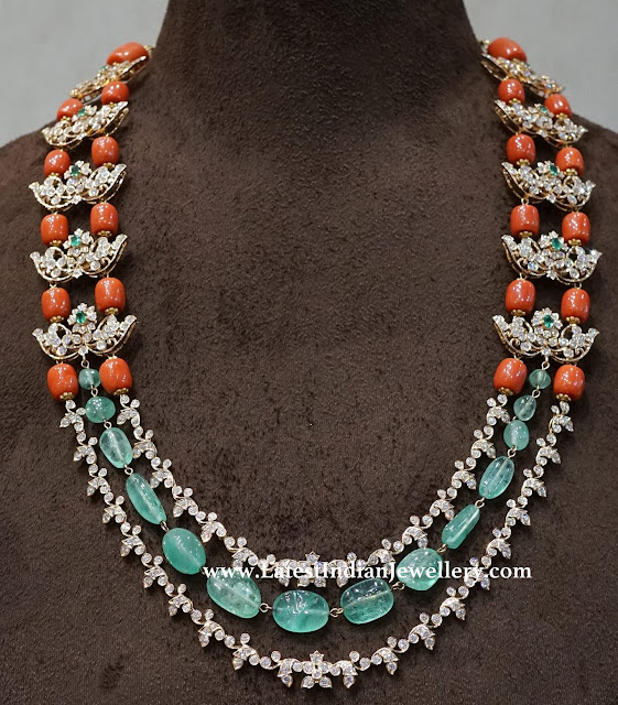 Exceptional Coral Diamond Necklace
