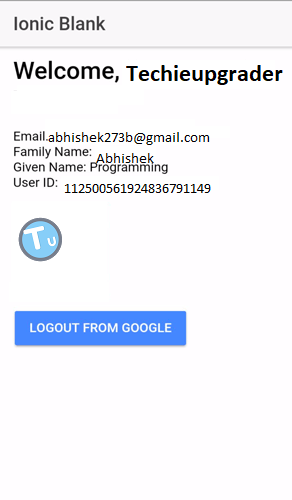 Ionic 3 Google Plus Authentication - TechieUpgrader